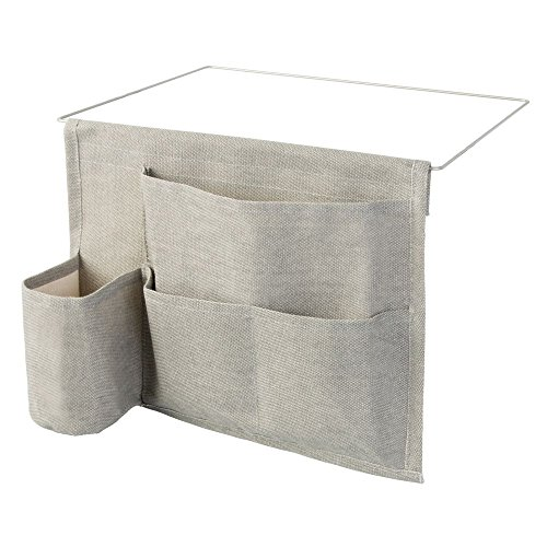 InterDesign Wren poche rangement pour lit - pochette de rangement lit avec 4 poches en coton et métal - gris clair