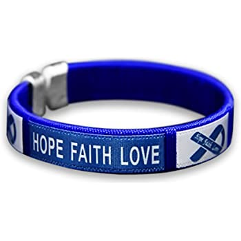 Amazon Com Fundraising For A Cause Colon Cancer Dark Blue Ribbon Bangle Bracelet Clothing