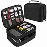 Electronic Organizer JBOS Accessories Organizer Travel Cable Storage Gadget Bag Double Layer Electronics Organizer Case for Cables, USB Flash Drive, Charger, Phone, Mini Tablet, E-Reader (Large)