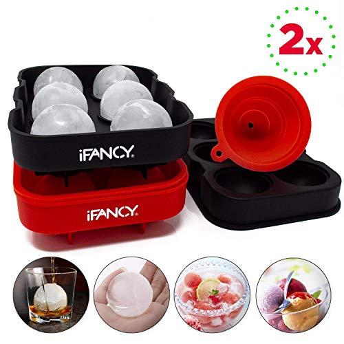 iFancy - Silikon Eiswürfelform Eiskugelform für 12 Runde Eiswürfel - 2er-Pack - 4,5cm Durchmesser - 100% BPA-frei - Ice Ball Mould Sphere Whisky Balls - Cocktails Saft Cake-Pops Schokolade