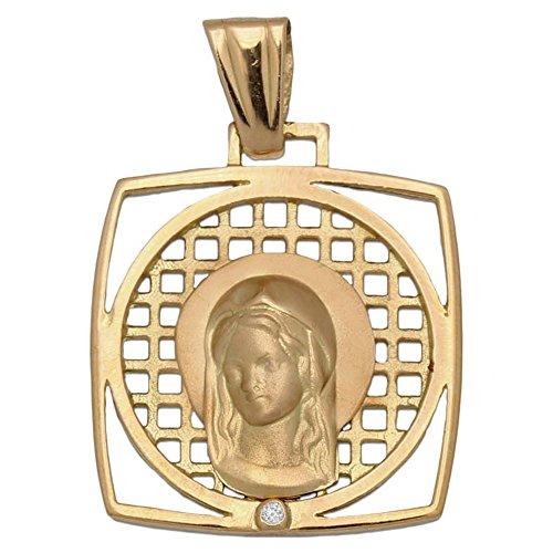 Medalla de Oro 18 KL. Cuadrada Virgen Niña 20 x 23 Mm. un Precioso diseño Ideal para niñas Que tomen su Primera Comunión, Perfecto como Regalo, será un Recuerdo para Toda la Vida