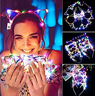 Kapmore LED Cat Ear Headband, 10 Pack Cute Light Up Cat Ear Headdress Hairbands Halloween Christmas Party Decorations Hair Accessories for Girls Adult