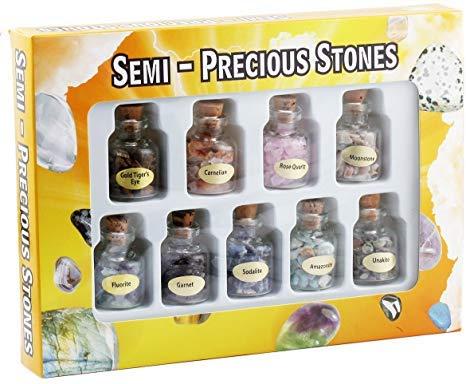 IXIGER gemengde natuurlijke kristal 9 Chakra stenen, natuurlijke minerale erts specimens kit met doos, Wishing fles kristal originele steen specimen,7 flessen