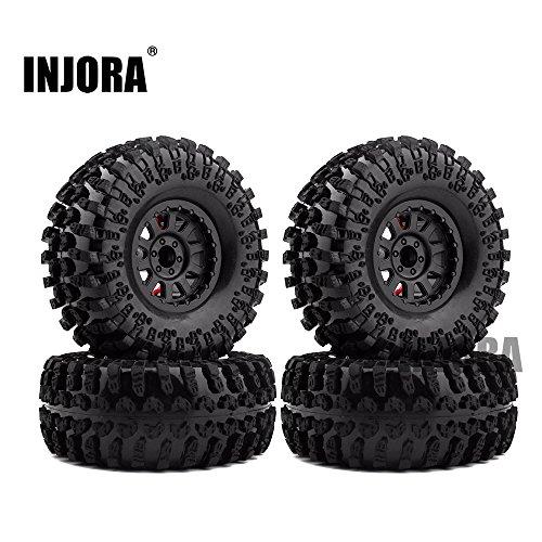 INJORA 2,2 RC Crawler Reifen Set mit Beadlock Felgen 4Pcs Tires mit Räder für 1/10 RC Crawler Axial SCX10 RR10 Wraith Yeti