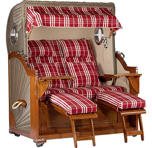 Trendyshop365 Mahagoni Strandkorb 2,5-Sitzer Volllieger rot-weiß gestreift - aufgebaut und einsatzbereit