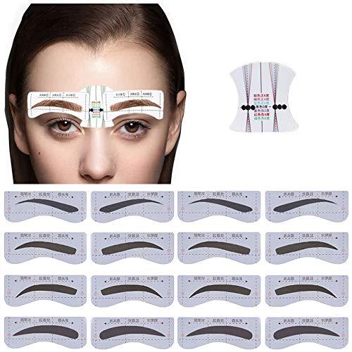 Kalolary 4 Styles/16 Pairs Augenbrauen Schablonen, Augenbrauenkorrektur Vorlage für Schöne Augenbrauen Mädchen Damen Make-up Werkzeug, mit 6 wiederverwendbare Augenbrauen Zeichnungskarten