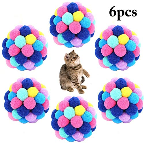 MAOJIU Interactive Cat Toy, 6pcs Pet Cat Toy Colorful Handmade Bells Bouncy Ball Built-in Catnip Interactive Toy Pet Cat Toys, The Best Entertainment Exercise Gift for Your Kitty,Blue,M