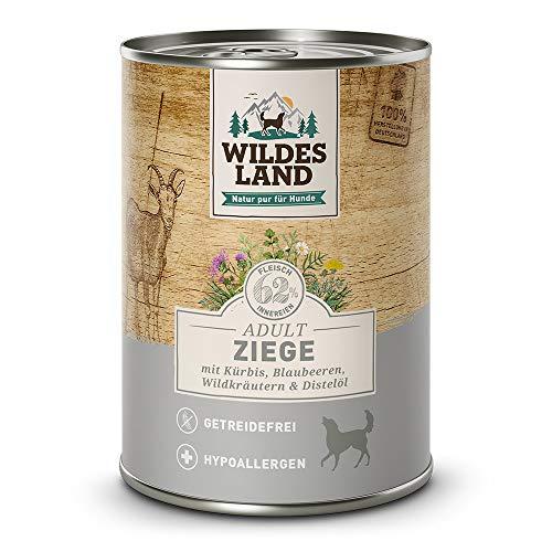 Wildes Land | Nassfutter für Hunde | Ziege | 12 x 400 g | mit Kürbis, Blaubeeren, Wildkräutern und Distelöl | Glutenfrei | Extra viel Fleisch | Beste Akzeptanz und Verträglichkeit