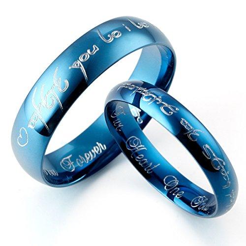 Gemini - Set di fedi nuziali in titanio, personalizzabili, con scritta in elfico, per lui e per lei, ideali per promessa di matrimonio, a cupola, lucide, colore: blu