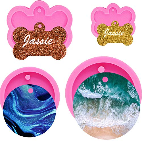 4 Pcs Resin Silicone Keychain Mold, Circle Dog Tag Mold for Epoxy Resin, Creative Cake Topper Decoration Mould (4)