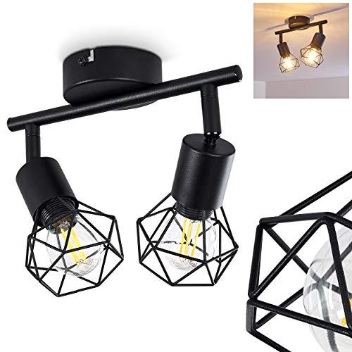 Deckenleuchte Baripada, Deckenlampe aus Metall in Schwarz, 2-flammig, 2 x E14-Fassung max. 40 Watt, verstellbarer Spot im Retro/Vintage Design in Gitter-Optik m. Lichteffekt an der Decke, LED geeignet