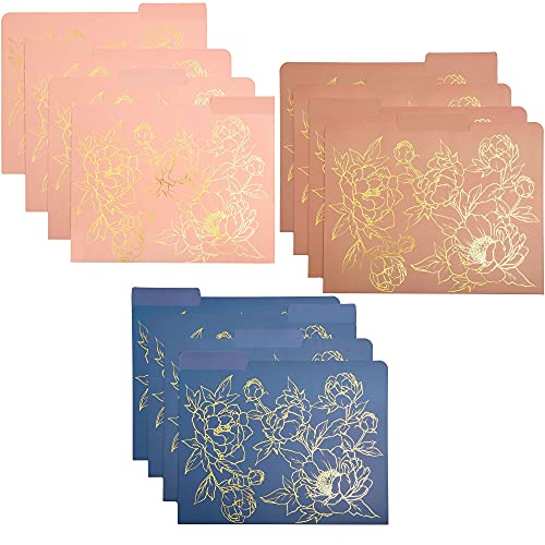 Floral File Folders, Decorative Gold Foil, 1/3 Cut Tab, Letter Size (12 Pack)