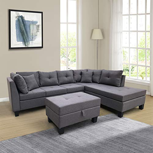 DKLGG Sectioanl Sofa L Shaped Couch Set with Chaise Lounge and Storage Ottoman for Living Room Small Space, Gray
