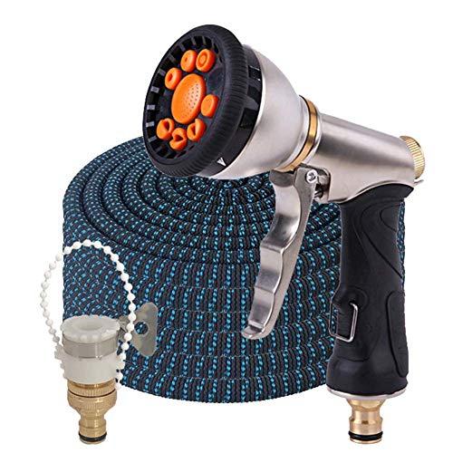 Jardinage Tuyau d'arrosage/Magic Expandable No-Kink 3 Fois Tuyau Flexible/avec Haute Pression Pistolet pulvérisateur en métal (Color : Hose Set, Lengh : 50ft)