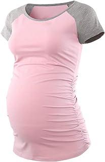 Jezero Women's Maternity Tops Short & 3/4 Sleeve Baseball Crew Neck Flattering Side Ruching Pregnancy T-Shirt