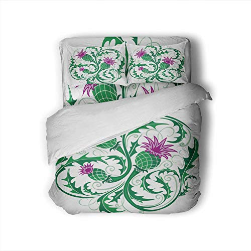 Beautiful Round Vignette in Celtic Style with Flowers Thistle,Full Size Cotton Sateen Sheet Set - 4 Piece - Supersoft Full