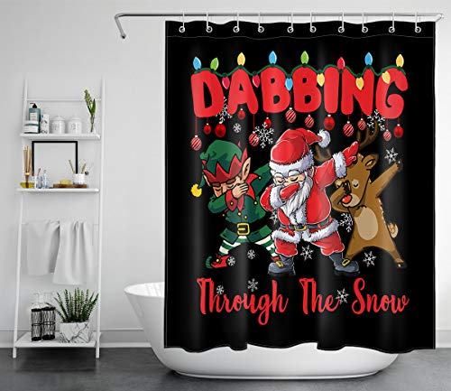 ECOTOB Christmas Shower Curtain Cartoon Santa Claus Reindeer and Snowflake Christmas Balls on Black Background Shower Curtains for Kids Bathroom Waterproof Polyester Fabric with Hooks, 60x72 Inches