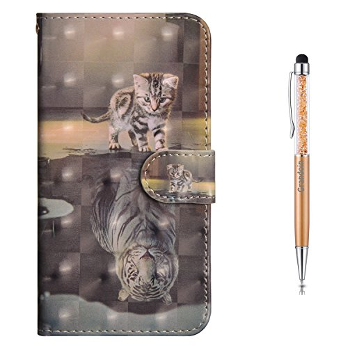iPhone 6S Hülle,iPhone 6 Hülle,Grandoin Handyhülle im Brieftasche-Stil für Apple iPhone 6S / iPhone 6 4.7 Zoll Handytasche PU Leder Flip Cover Case Schutzhülle mit Etui Case (Katze und Tiger)
