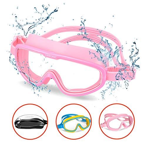 OMORC Taucherbrille Kinder, Schwimmbrille Anti-Fog UV-Schutz, Auslaufsichere Schnorchelbrille, Verstellbarer Gurt, Tauchmaske mit tragbarer Tragetasche für Kinder/Jugendliche (Alter 3-15) (Rosa)