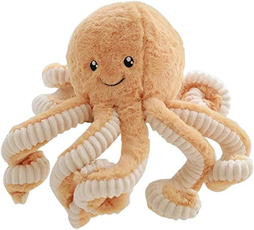JMKHY Cute Octopus Plush Cushions Simulation Soft Ocean Animal For Children Baby Gifts 15.6 Inch-Light_Brown