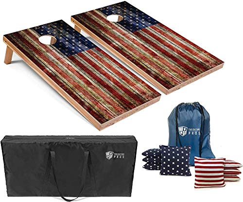 Tailgating Pros Cornhole Boards - 4'x2' & 3'x2' Cornhole Game w/Carrying Case & Set of 8 Corn Hole Bean Bags w/Tote (4'x2' Rustic American Flag)