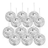 Seahelms Bolas de discoteca de espejo, bola de plata para colgar en la boda, hogar, fiesta, cumpleaños, fiesta, decoración, efecto de iluminación (12...
