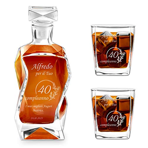 Murrano Set Decanter per Whisky in vetro - da 700 ml - incisione personalizzata - Caraffa con 2 bicchieri - idea regalo per il compleanno - per l' uomo - Dei campi