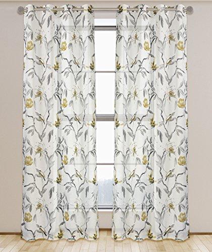 LJ Home Fashions Andi Bloemen Semi Sheer Kant-en-klare Voile Oog/Ring Top 2-delig Gordijn Paar, 137x241cm (54x95-in), Wit/Grijs/Zwart/Ecru, Polyester, 241 x 137 x 0.04 cm
