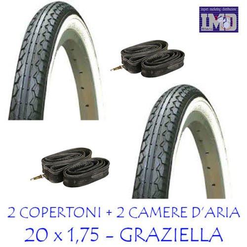 2 x Copertoni + 2 x Camere d'aria ideale bicicletta GRAZIELLA 20 x 1.75 / BIANCO-NERO - Copertone...