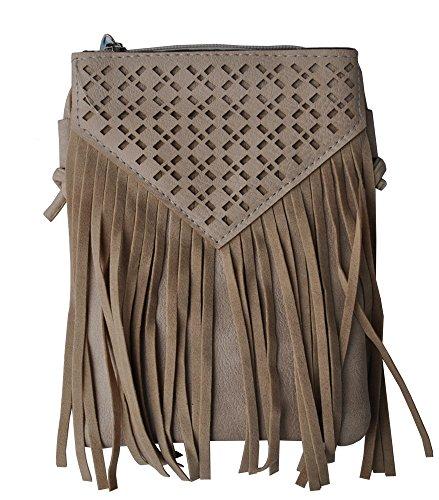 Alpin-Trachten Damen Handtasche Fransen Cutout Muster 024 (Beige)