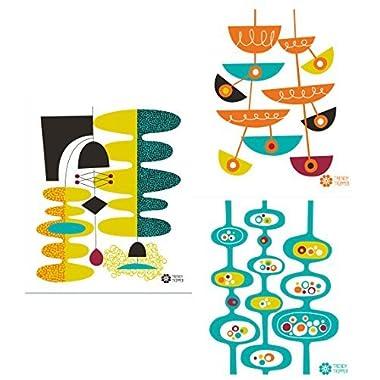 Swedish Dishcloths, Set of 3 Mid-century Modern Designs by Jenn Ski - (Wasabi/Blue Grass/Orange on Natural)