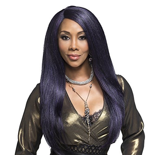 Vivica A Fox Hair Collection PAVIOLA - Deep Swiss Lace New Futura Synthetic Fiber Front Wig, 1B, 12.9 Ounce