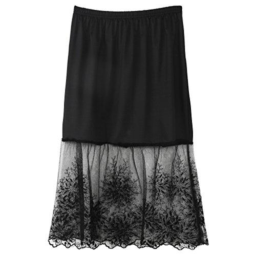 VIccoo Spitzenunterrock, Spitze Half Slip Röcke Extender Elastic Waist A-Linie Hohl Petticoat Unterrock - Schwarz