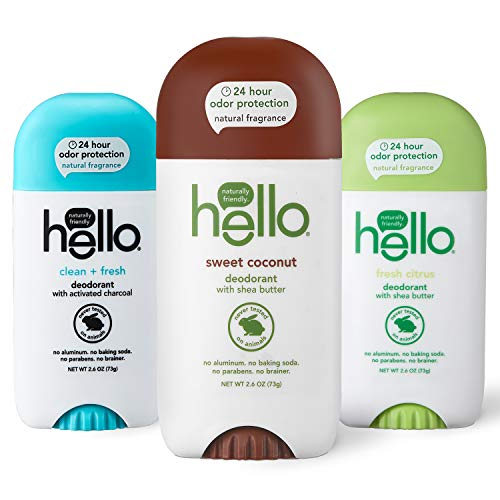 hello Deodorant With Shea Butter for Women + Men, 24 Hour Odor Protection - Sweet Coconut, Fresh Citrus, and Clean + Fresh, No Aluminum, + No Baking Soda, Vegan & Parabens Free, 2.6oz, 3 count