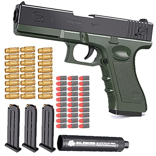 KFGJ Shell Ejection Soft Bullet Toy Gun, Glock & M1911, 1:1Size with Silencer and Magazine Ejection, Soft Bullet Gun EVA Shell, Real Dimensions, Fun Outdoor Game Green
