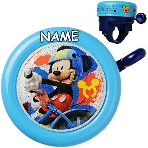 Fahrradklingel - Disney - Mickey Mouse - inkl. Name - Ding Dong - 2 Klang - stabiles Metall - UNIVERSAL Klingel für das Fahrrad / Jungen Mädchen - kleine Lenk..
