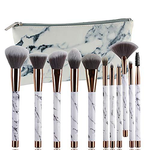 Pinceau De Maquillage Set 11 Pièces Cosmétiques Professionnels Brosses Pinceaux 2E Génération Maquillage De Marbre Brosse Avec Ventilateur En Forme De L'outil De Beauté,Blanc