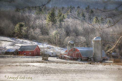 free Red Barn Inexpensive Winter Landscape - Farmhouse Ar Wall Country Canvas