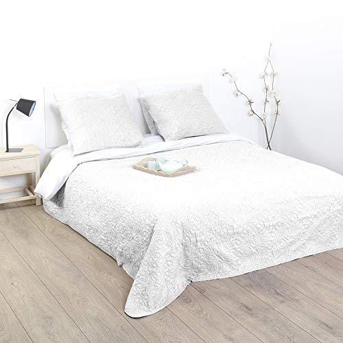 Bettwäsche, gesteppt, mit 2 Kissenbezügen, weich & warm, groß elfenbeinfarben