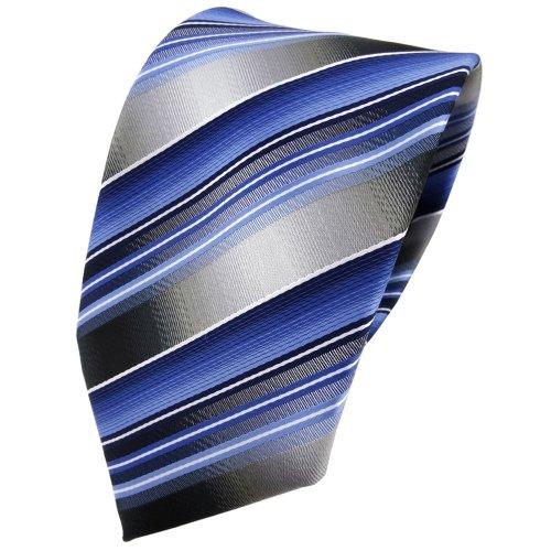 TigerTie Designer Krawatte in blau hellblau silber anthrazit grau gestreift - Tie Binder