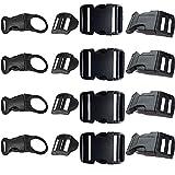 16 Piezas Negra Ajustables Hebilla de Plástico Para Mochila Reparación de Hebilla de Cinturón...