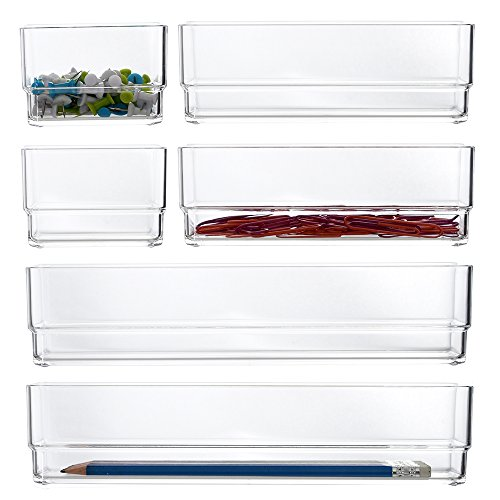 STORi Clear Plastic Vanity and Desk Drawer Organizers  6 Piece Set