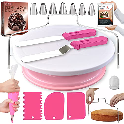 RFAQK 35PCs Cake Turntable and Leveler-Rotating Cake Stand with Non Slip pad-7 Icing Tips and 20 Bags- Straight & Offset Spatula-3 Scraper Set -EBook-Cake Decorating Supplies Kit -Baking Tools