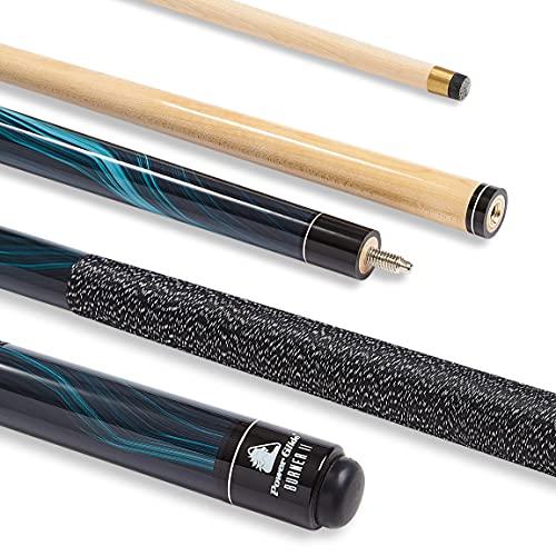 PowerGlide Burner II 2 piece Pool Cue Maple 10mm Tip Black Full Size 57' / 142cm