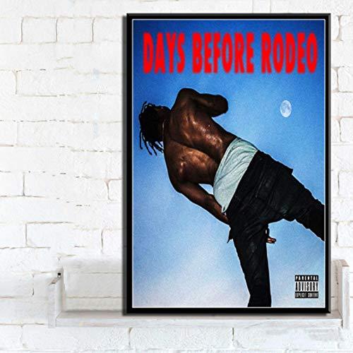 lubenwei Travis Scott Astroworld Rodeo DAYS Rap Music Album Posters Prints Canvas Painting Wall Art Picture Home Decor 40x50cm No frame (WA-2698)