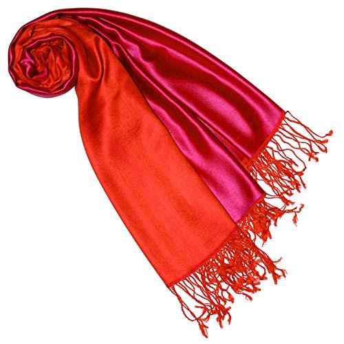 Lorenzo Cana Luxus Pashmina Damenschal Wendeschal 70% Seide 30% Viskose Schaltuch 70 x 190 cm zweifarbig Schal Stola Umschlagtuch wendbar Double Face, Pink-orange, 70 x 190 cm