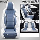 SUNQQJ Fundas Asientos Coche Universales para Peugeot 206 CC SW 207 208 307 CC/3008 Accesorios Coche, Blanco Azul