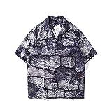 CIDCIJN Camisa Hawaiana para Hombre - Hombres Piedra Impreso Hawaiian Beach Camisa Casual Camisa Salvaje Blusa Hombres Botón Flexible Transpirable Rápido Seco Shir,XL