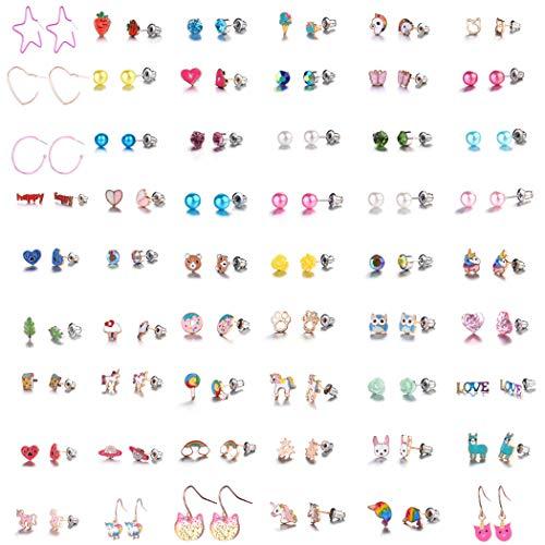 GOTONE 54 coppie Acciaio inossidabile Orecchini per ragazze Donna Animali Colorati Arcobaleno Perla Carino Sgocciolatura d'olio Orecchini a bottone