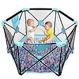 Hadwin Baby Laufstall, faltbarer und tragbarer Spielhof für Babys Kleinkinder, Aktivitätszentrum mit atmungsaktivem Netz und Aufbewahrungstasche, für drinnen und draußen, sicheres Spielen, 6 Paneele
